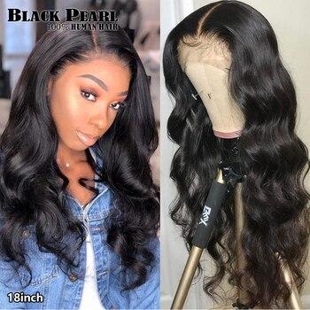 Siyah inci vücut dalga dantel ön peruk 13X4 İnsan saç peruk 8-30 inç brezilyalı ön koparıp dantel ön insan saçı peruk