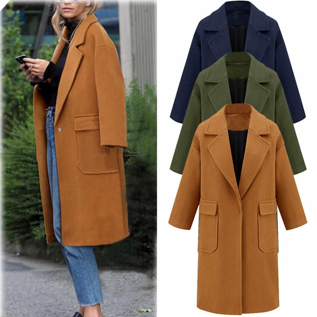 Koreaanse Temperament vrouwen Populaire Overjas Winter Warm Revers Wollen Jas Geul Jas Lange Uitloper Pocket chaquetas mujer