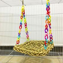 fashion Bird Parrot Hamster Climbing Chew Swing Hammock Straw Nest Cage Decor Pet Toy Hammock Cage Decoration Colorful Bird Toys