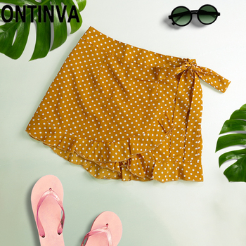 цены Ladies Summer Skirt Shorts Bermuda Shorts for Women Lotia Cute Polka Dot Print Tie Side Wrap Ruffles Overlap White Beach Shorts