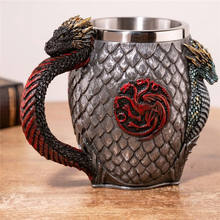 Beer Mugs Coffee Cups 3D Gothic Goblet Iron Throne Tankard Stainless Steel Resin Wine Glass Mug New Year Christmas Fans Gifts