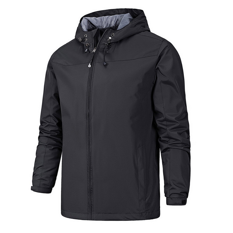 CYSINCOS Men's Solid Color Hooded Outdoor Sports Mountaineering Windbreaker Windproof Waterproof Breathable Fishing Clothes