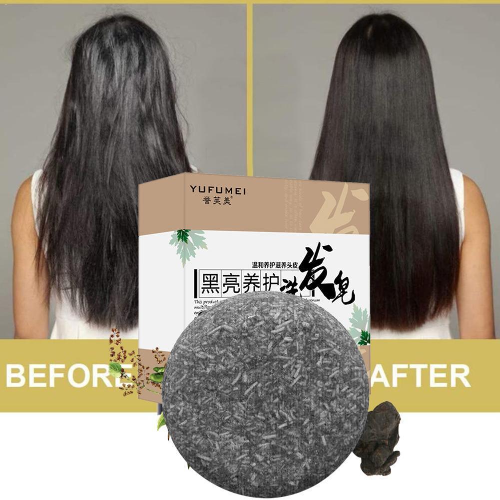 Polygonum Herbal Shampoo Soap Bar Natural Formula Handmade Loss Bright Black Hair Sesame Oil Control Treatment Hair Grey So N8N0