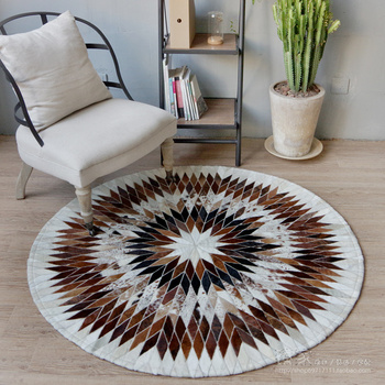 Custom round living room entrance hall study special offer Brazil leather imported pure hand-stitched leather carpet