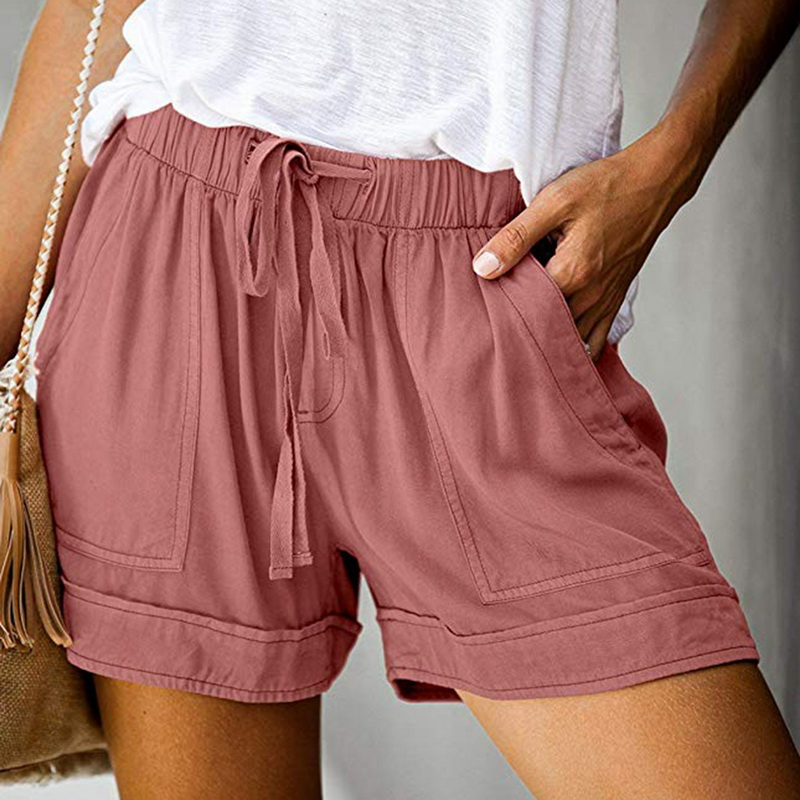 SFIT Summer Elastic Wasit Shorts Women Cotton Shorts Trousers Feminino Women Home Loose Casual Shorts Plus Size With Pocket