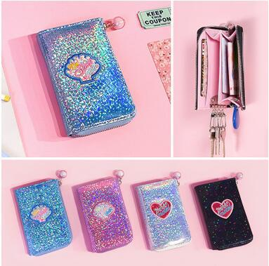 Crystal Color Rounded Key Case Laser Patent Leather Key Case Colorful Laser Coin Purse Women Wallets