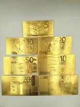 7 pçs/lote conjunto completo 24k europeu 5.10.20.50.100.200.500 euro notas de ouro dinheiro falso para lembrança coleção decoração