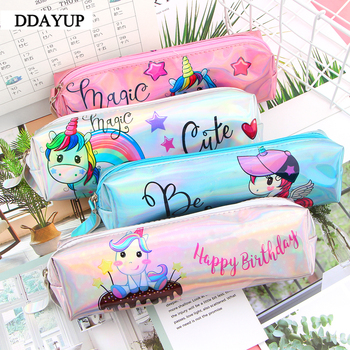 Unicorn Laser Pencil Case Kawaii School Supplies Stationery Gift Cute Pencil Box Office School Tools Pencil Cases Tools new gold pencil case reversible sequin school supplies bts stationery gift cute pencil box pencilcase school tools pencil cases