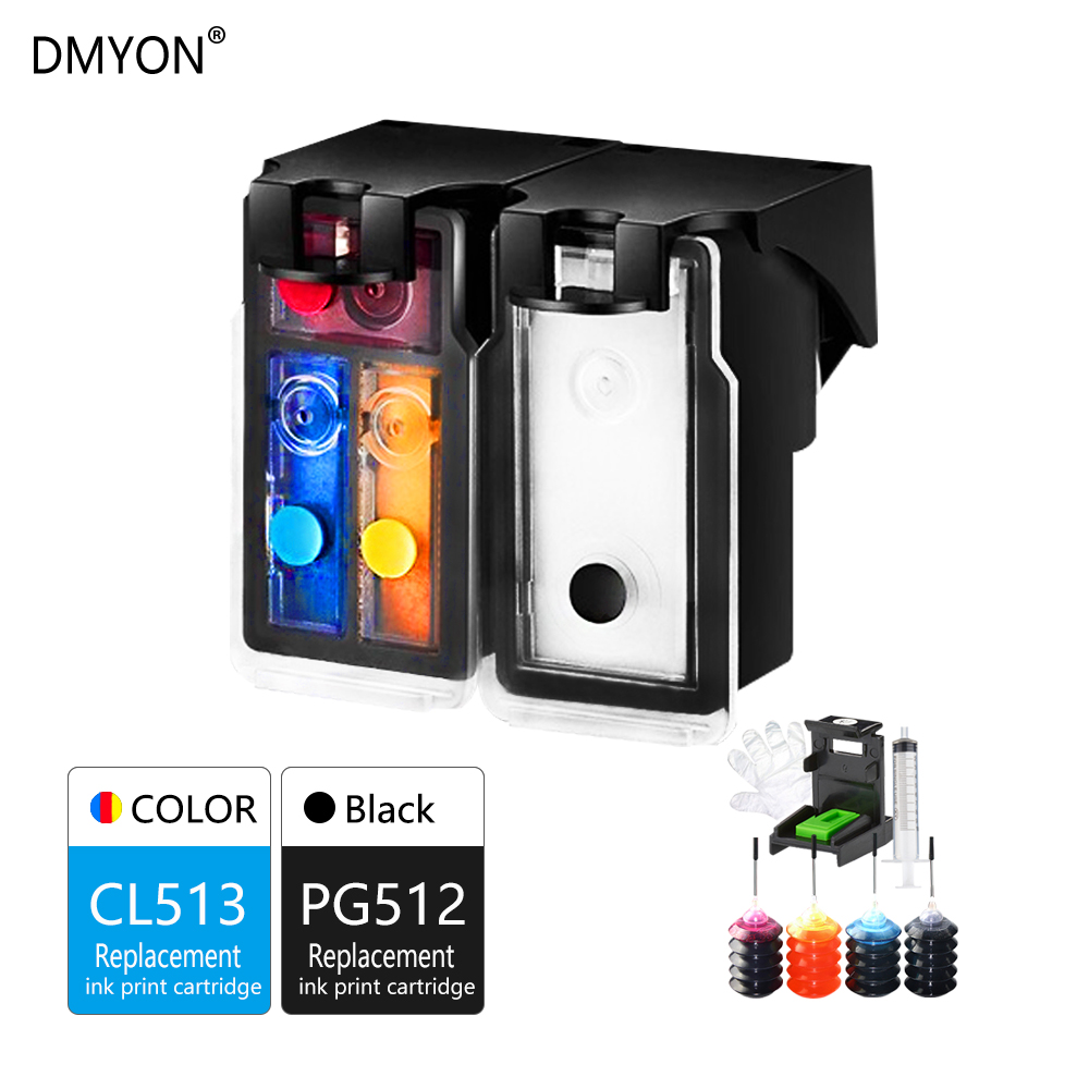 DMYON PG 512 CL 513 Refillable Ink Cartridges Compatible for Canon MP240 MP250 MP270 MP230 MP480 MX350 IP2700 P2702-in Ink Cartridges from Computer & Office