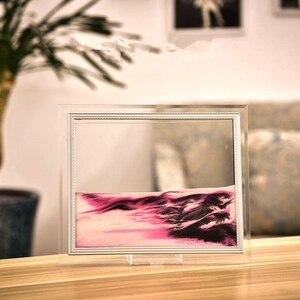 Image 3 - Marco de imagen de arena móvil, pintura de paisaje líquido, foto de cristal, adornos de escritorio, pintura de arena que fluye con visión 3D con marco de fotos