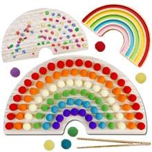 Arco-íris placa de madeira brinquedos do bebê montessori brinquedos educativos cor classificação sensorial nordic madeira brinquedos clip grânulos jogos presente para crianças