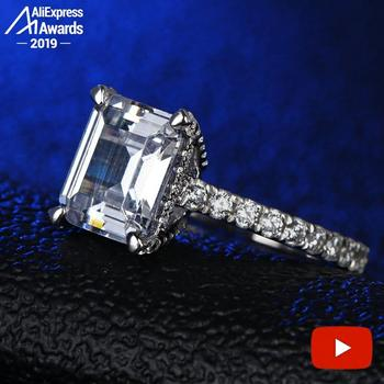 4 Carat Emerald Cut 8*10mm NOT FAKE S925 Sterling Silver Ring SONA Diamond Halo Fine Ring Unique Style Love Wedding Engagement