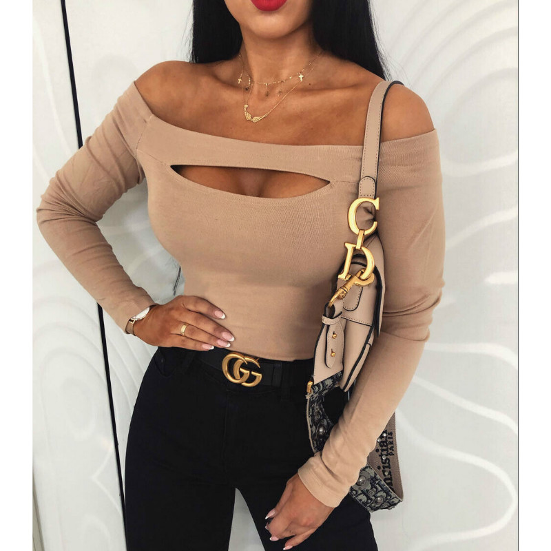Autumn Sexy Cut Out Off Shoulder Long Sleeve Slim TeeT Shirt Solid Color Casual Top Pullovers