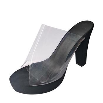 Slip-on ψηλοτάκουνα mules με διαφάνεια