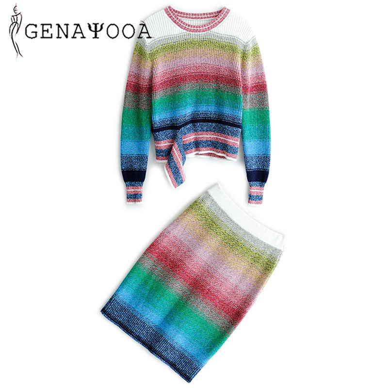 Genayooa Rainbow O Neck Two Piece Set Top And Skirt Knitted 2 Piece Set Women Matching Sets For Women Autumn Winter Sweater Suit
