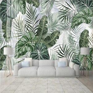 Milofi пользовательские большие обои 3D тропический дождь лес листья мраморный узор ТВ спальня фон обои росписи