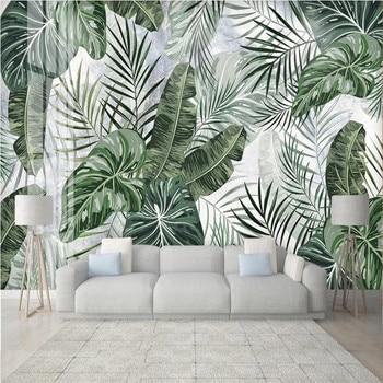 milofi custom large wallpaper mural 3D tropical rain forest leaves marble pattern TV bedroom background wallpaper mural цена 2017