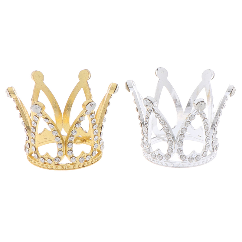 Mini Crown Princess Topper Crystal Pearl Tiara Children Hair Ornaments For Wedding Birthday Party Cake Decorating Craft Toy