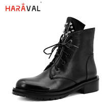 HARAVAL Fashion Quality Women Ankle Boots Winter Warm Retro Round Toe Lace Up Low Heel Shoes Classic Lace-up Zipper B201