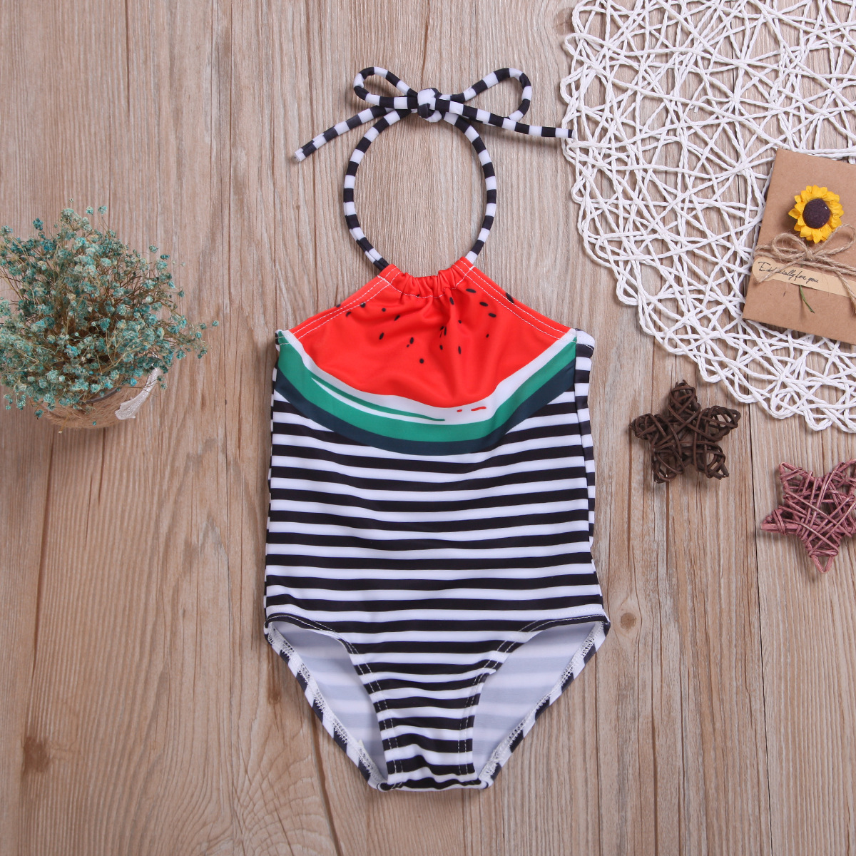 Childrenswear Summer Kid's Swimwear Watermelon Printed Girls Camisole Stripes One-piece Swimming Suit
