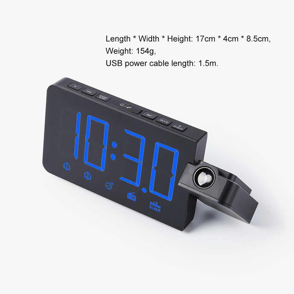 Fanju Digital Alarm Clock FM Radio Lampu Malam Waktu dengan Projector Dinding Desktop Elektronik Jam Meja Dekorasi Rumah