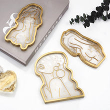 Tray Mold DIY Resin Epoxy Glue Silicone Mold Girl Model Body Abstract Plate Coaster Plate Mirror Jewelry Storage Box Decoration