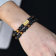 Beaded Bracelet Tiger-Eye-Lava Gold-Cube Name Natural Women for Engraving 8mm Stretch-Wrap