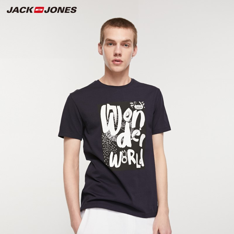 JackJones Men's 100% Cotton Printed Style Short-sleeved T-shirt| 219201533