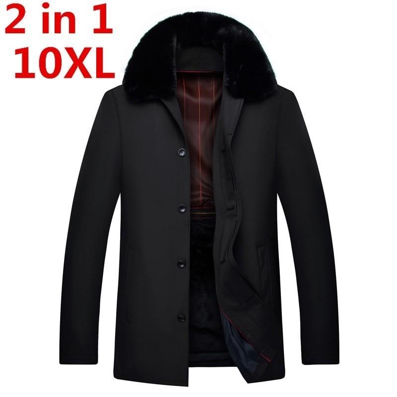 2 In 1 10XL 9XL 8XL 7XL Parka  Men Coats  Winter Jacket Men Slim Thicken Fur Hooded Outwear Warm Coat Top Casual Men's Coat Tops
