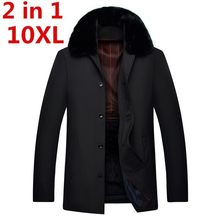 2 in 1 10XL 9XL 8XL 7XL Parka Männer Mäntel Winter Jacke Männer Schlank Verdicken Fell Kapuze Outwear Warme Mantel top Casual Mantel der Männer Tops(China)