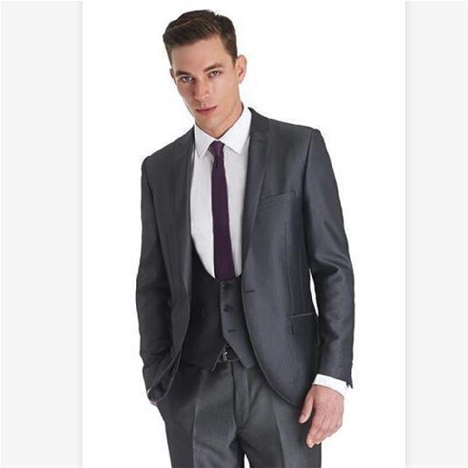 New Classic Men's Suit Smolking Noivo Terno Slim Fit Easculino Evening Suits For Men Dark Gray Groom Tuxedos Groomsmen Wedding/b