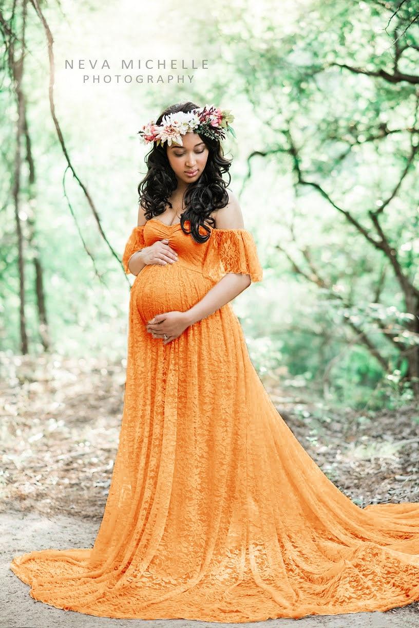 Robes de soirée de maternité pleine dentelle pas cher hors de l'épaule tenue de femme enceinte 2019 balayage Train robe de photographie