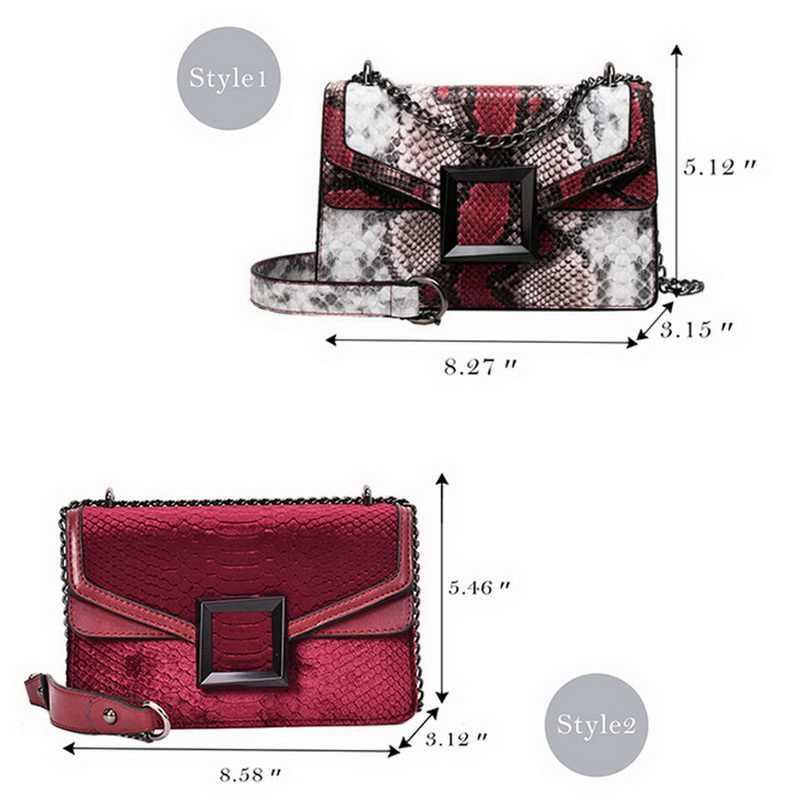 Retro serpentyn łańcuch okrągły Crossbody dla kobiet torebki drukowane małe PU skórzane torby na ramię kobieta wąż torba