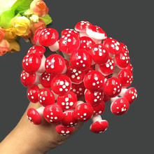10Pcs Mini Mushroom Miniatures Artificial Garden Fairy Moss Resin Crafts Decorations Stakes Craft For Home 2cm(China)