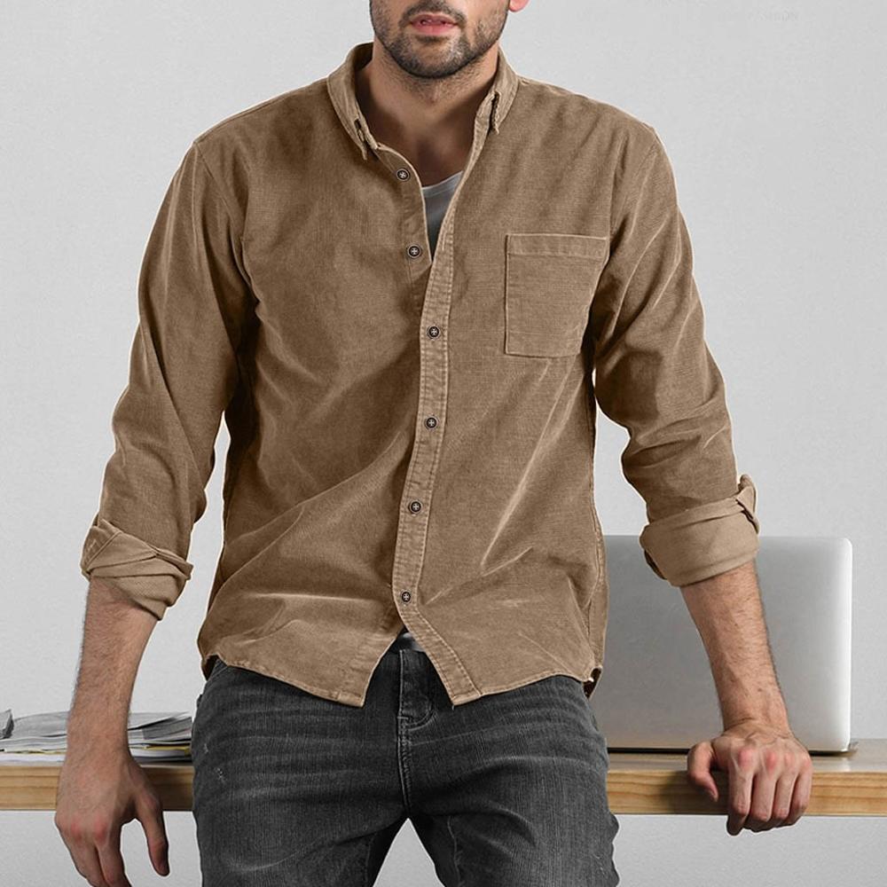 Fashion Men's Solid Color Corduroy Pocket Shirt Autumn Casual Long Sleeve Shirt Men