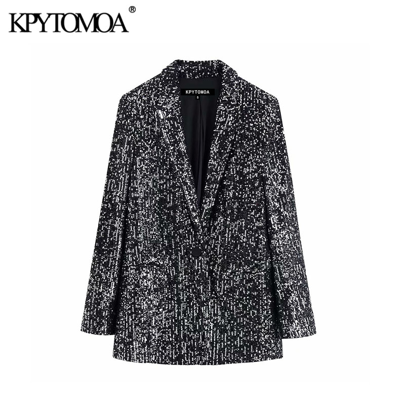 Vintage Stylish Office Wear Pockets Sequins Blazer Coat Women 2020 Fashion Notched Collar Long Sleeve Female Outerwear Chic Tops