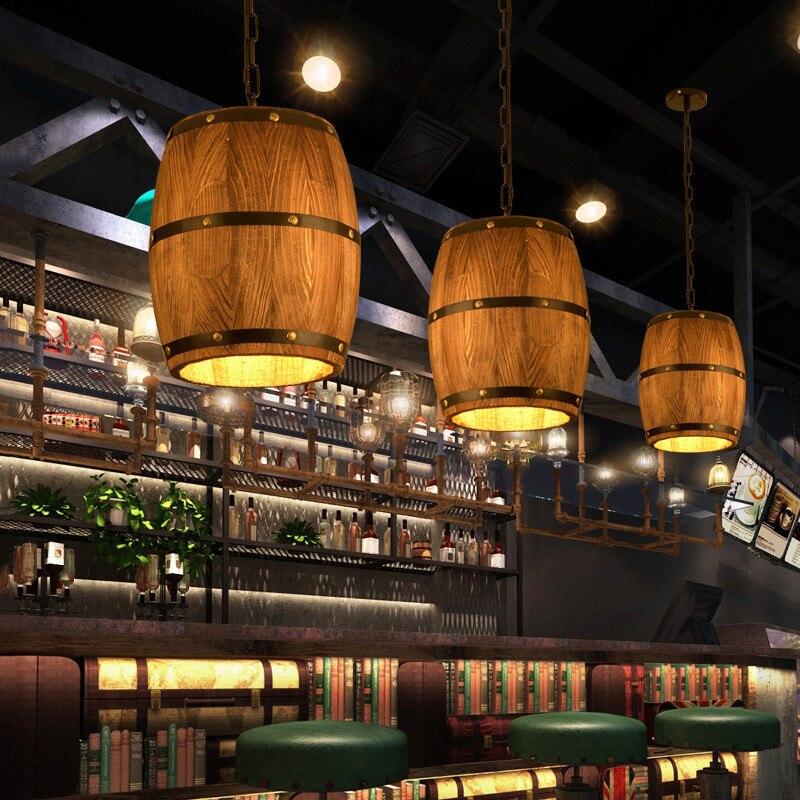 Loft Industrial Wooden Barrel Pendant Lamp Countryside Vintage Solid Wood LED Hanging Light Lamps for Restaurant Living Room Bar|Pendant Lights| |  - title=