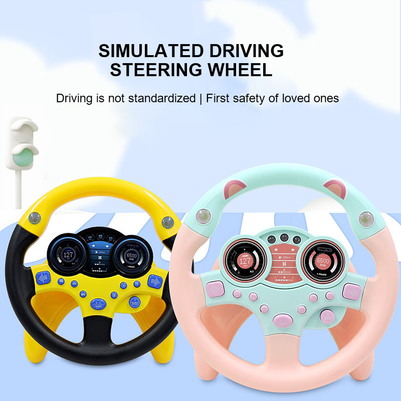 Children'S Education Simulation Steering Wheel Toy Sound Effect Drive Beginner Role Playing Simulation Driving Steering Wheel