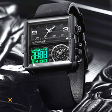 Luxury Men Watch LED Display Quartz Creative Sport Watches Male  Waterproof Wristwatch Complete Calendar Multiple Time Zone weide men s sport dress watches black dial waterproof quartz analog multiple time zone watches leather strap buckle wristwatch