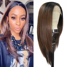 Мягкие прямые синтетические кружевные передние парики с короткими детскими волосами, женский парик коричневого цвета с эффектом омбре, модный кружевной парик, свободная деталь для черных женщин
