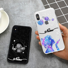 Astronaut Phone Case For iPhone X XR XSMax 7 8 DIY Custom Name Soft Cover Clear TPU For 6 7p 8p XS Phone Cases Starry sky Moon все цены