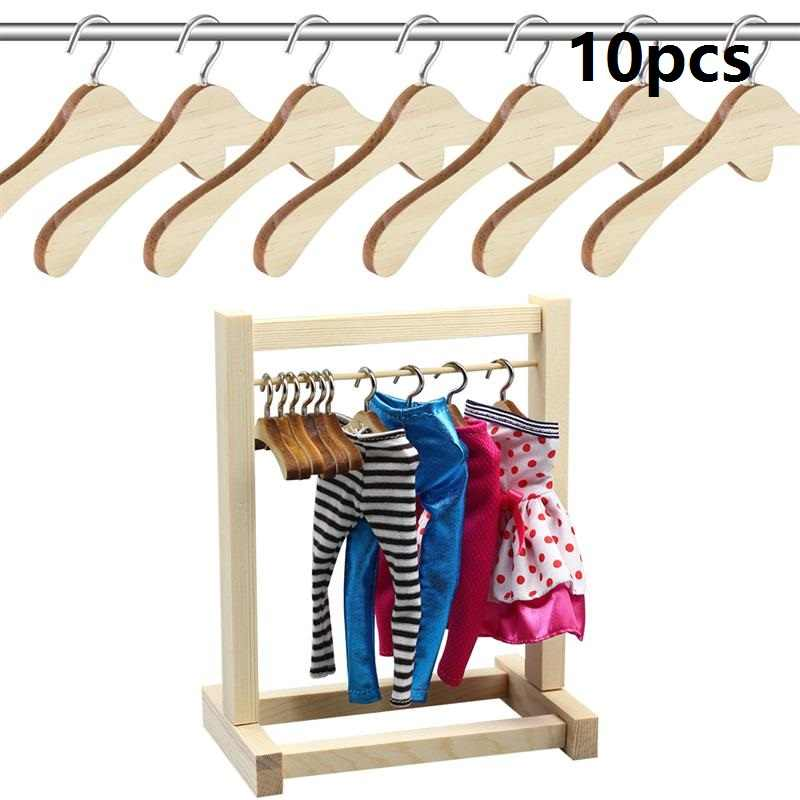 10pcs 12CM Wooden Mini Space Saving Non-Slip Clothes Hangers Laundry Hook Drying Rack for Dolls Sweaters Shirts Dresses
