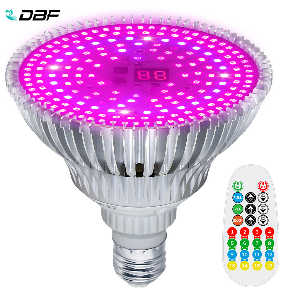 100W Full Spectrum Plant Grow Led Light Bulbs Remote Control Dimmable Phytolamp With Timer E26/E27 Greenhouse Tent Eyeglass Free