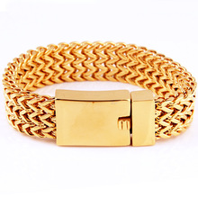 Granny Chic Punk Jewelry Heavy 22mm Width Cool 316L Stainless Steel Mens Gold Tone Figaro Chain Link Bangle Bracelet