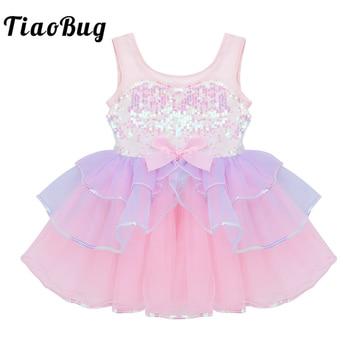 TiaoBug Kids Girls Dancewear Shiny Sequins Bowknot Mesh Tutu Ballet Dress Gymnastics Leotard Stage Performance Dance Costume