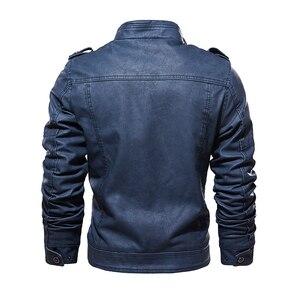 Image 3 - עור מעילי גברים 2019 חורף PU מעילי מעיל עבה צמר חם עור מעיל מותג גברים של בגדי רחוב בציר מעיל תלבושות