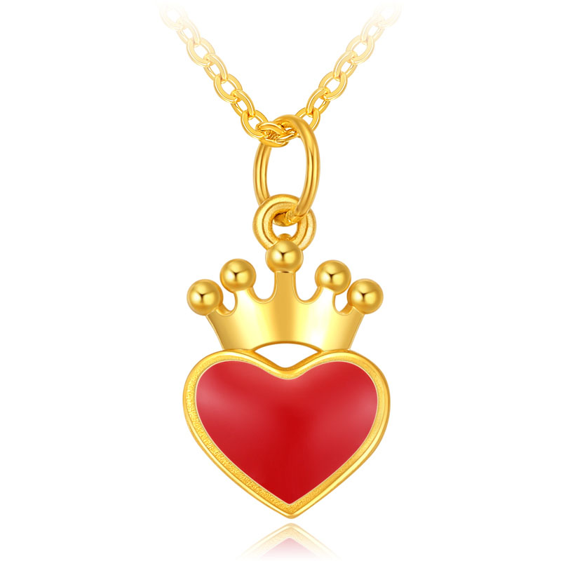 New Pure 24K Yellow Gold Pendant Women Red Heart crown Necklace Pendant