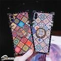 Роскошный клетчатый квадратный держатель для iPhone X XR XS MAX 11 ProMAX 7 8 6 6s Plus Samsung S8 9 10 20 Plus Note8 9 10 Pro