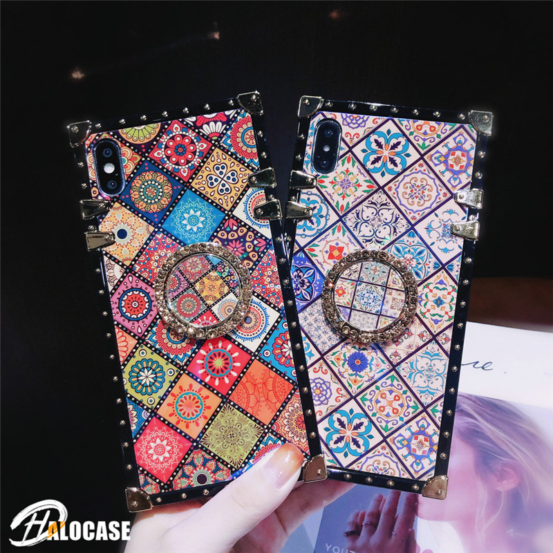 Luxury Plaid Square Holder Stand Ring Case For iPhone X XR XS MAX 11 ProMAX 7 8 6 6s Plus Samsung S8 9 10 20 Plus Note8 9 10 Pro(China)