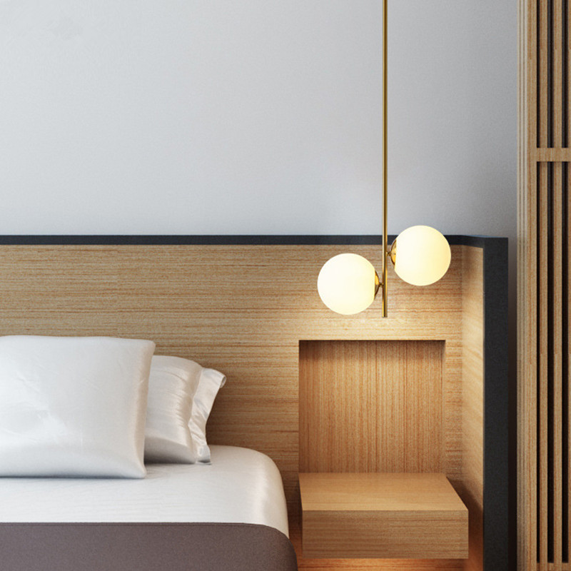 Tube Simple nordique en métal doré 1/2 lumière H62cm pendentif LED lumières Lustre G9 Luminaires couloir suspension Luminaires